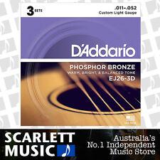 D'Addario EJ26-3D 11-52 Phos. Bronze Acoustic Guitar Strings *SET OF 3 PACKS*