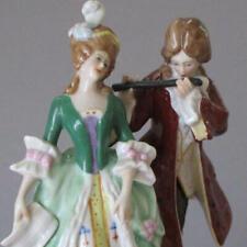 Antique DRESDEN Porcelain HP Petite Figurine French LADY + GENT * Sitzendorf