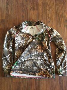Realtree Women's Pink and Camo 1/4 Zip Long Sleeve Fleece Jacket Size S Light