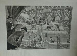 Gravure Rare Construction de la tour Eiffet 1889 Exposition universelle