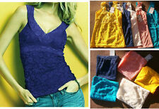 Lace Solid Sleeveless Tops & Blouses for Women