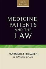 Medicine, Patients and the Law by Emma Cave, Margaret Brazier Paperback,    (h2)