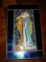 """SULLO STAINED ART GLASS JEWEL BOX WITH HAND PAINTED CAT INLAY 7-1/4"""" X 12"""""""