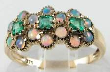 & Opal 3 Daisy Ring Free Resize Eternity 9Ct 9K Gold Art Deco Ins Emerald
