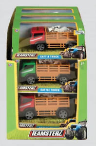 TEAMSTERZ DIE CAST METAL CATTLE TRUCK WITH ANIMALS TOY - RED + GREEN FREE POST