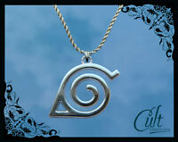 Naruto sterling silver / faux leather necklace with leaf symbol charm
