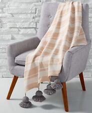 """Whim by Martha Stewart 50""""x60"""" Tassel Stripe Throw Blanket Neutral A9Y094"""