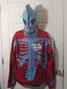 Rare NWT Authentic LRG Dead Serious Skeleton Hoodie XL Kanye West Red/Blue