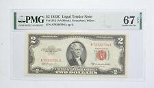 1953-C $2 FR#1512 (AA Block) Red Seal Graded PMG - 67 EPQ Legal Tender *802