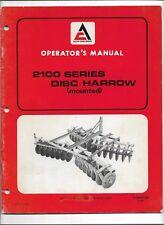 Original Allis Chalmers 2100 Series Mounted Disc Harrow Operators Manual 573363