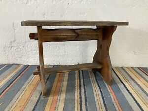 Antique Natural Wood Rustic Hand Carved Coffee Table Or Bench