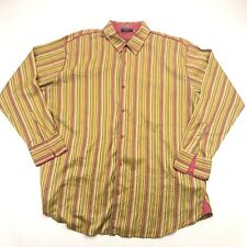 Coogi Button Up Shirt Mens 4XL Yellow Relaxed Fit Striped Silk
