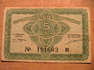 1942 French Indo-China 5 Cents Very Fine+ Original Banknote Currency Paper Money