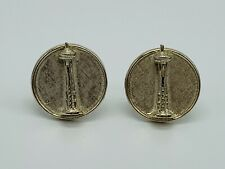 Vintage Seattle Washington Space Needle Cufflinks Cuff Links Silver Tone Round