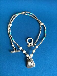 SOUTHWESTERN NATIVE AMERICAN NECKLACE WHITE METAL BEADS & STERLING PENDANT