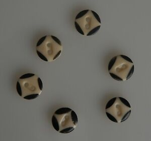 Six vintage China type buttons, stencil pattern #1. 5/8 inch