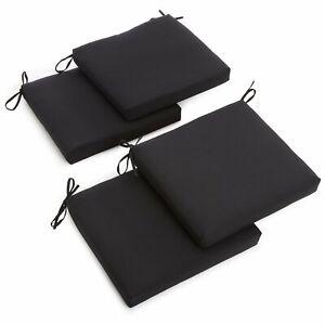 20-inch by 19-inch Twill Chair Cushion (Set of Four) - Black