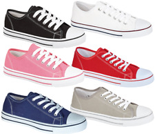 CHILDREN'S YOUTHS CANVAS PUMP CASUAL LACE UP  PLIMSOLL SHOES