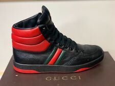 Men's GUCCI Black and Red padded leather contrast high -top Sneakers US 9.5 (9G)