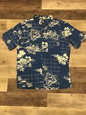 Old Navy Button Down Shirt Short Sleeve Hawaii Blue Size Large Mens
