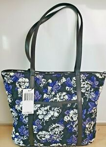 NEW Vera Bradley Small Trimmed Vera Tote Frosted Floral faux leather trim