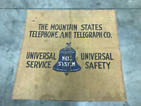 VINTAGE MOUNTAIN STATES TELEPHONE TELEGRAPH CO BELL SYSTEM CANVAS BANNER SIGN