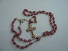 VINTAGE 1950,S PRAYER ROSARY BEADS CROSS CRUCIFIX NECKLACE PINK GLASS BEADS