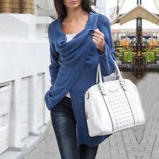 Womens Cowl Neck Long Sleeve Jumper Top Cardigan Split Wrap Sweater Coat Outwear