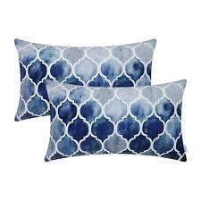 Grey Navy Blue Orange Bolster Pillows Case Geometric Trellis Chain Decor 30x50cm