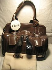 $2100 NEW CHLOE Large Bay Quilted Patent Leather Tote Handbag Satchel Purse