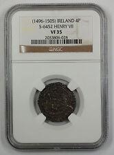 1496-1505 Ireland 4P Silver Groat Coin S-6452 Henry VII NGC VF-35 AKR