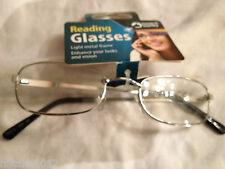 Reading Glasses Spectacles Ladies Mens Black 2.50 Girls Boys Metal Frame