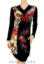 Robe Tunique Pull  MY DESIGN Taille 44 XL 5 broderie Fleurs perles Soirée NEUF