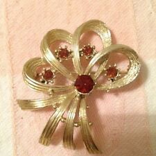 Vintage Ribbon Pin With Smokey Topaz Colored Stones Fun Gift