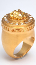 New Authentic VERCASE MEDUSA Motif Crystals Greca Pattern Ring sz 19