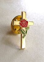 Remembrance Day  Rose Flower On Cross Gold Plated  ( Lest We Forget ) Lapel Pin