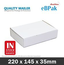 200x Mailing Box 220x145x35mm White Diecut for DVD CD MAILER Video DVD Bx6 Size
