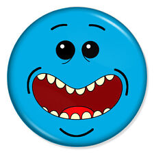 """RICK AND MORTY - MR MEESEEKS SMILEY 25mm 1"""" Pin Badge Button LOOK AT ME!"""