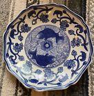 Antique Chinese flow blue    grayish  white glazed rice bowl w Mark
