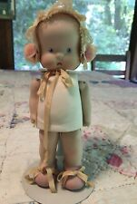 Vintage Bisque Hebe Shebe Doll 7� Sweet Girl With Bonnet
