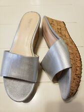 Nine West Silver Cork Wedges