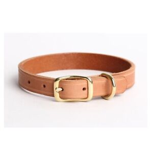 Copper Buckle Genuine Real Leather Handmade Dog Collar Tan L.Brown L M S