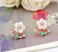 925 Sterling Silver Ladies Mother of Pearl Cute Flower Silver Stud Earrings
