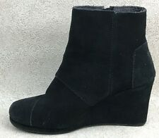 Womens 7.5 TOMS Wedge Ankle Boot RIGHT SHOE ONLY Black Suede Leather Zip Bootie