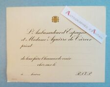 ♦ Ambassadeur Espagne & Mme Aguirre de Carcer - Carton d'invitation - Espana