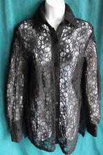 9375f174d5c PRESTON   YORK Black Floral Lace Button Up Blouse Sz S Long Slv Top Rayon  Cotton