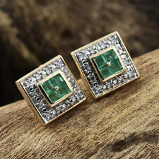 Natural Emerald Princess cut Stud Earrings with Diamond Halo 14k Yellow Gold