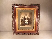 """Victorian Wooden Picture Frame with 1890's Family Picture 20 3/4"""" by 18"""""""