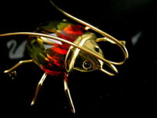 DANIEL SWAROVSKI SIGNED CRYSTAL BEETLE  PIN ~ BROOCH RETIRED NEW IN BOX