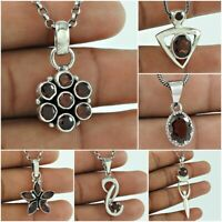 Natural Garnet Pendant January Birthstone 925 Sterling Silver Handmade Jewelry